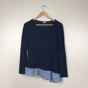 Lily White Navy Blue Asymmetrical Hem Long Sleeve